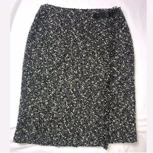 Etcetera Boucle Fringe Trim Wrap Skirt